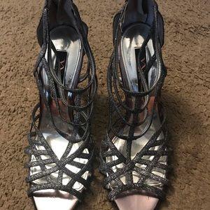 Nina Shoes - Silver Strappy heel